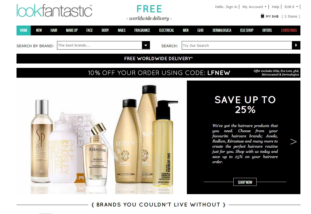 Look Fantastic英国化妆品网站