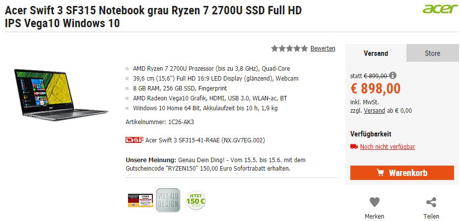 Acer Swift 3 Notebook mit AMD Ryzen 5 / Ryzen 7