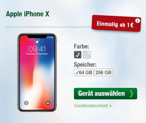 Apple iPhone 8 / iPhone X 64GB & LTE Starter mit Allnet-Flat und 3GB+1GB