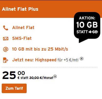 Congstar Allnet Flat Plus mtl. kündbare SIM + 10GB LTE